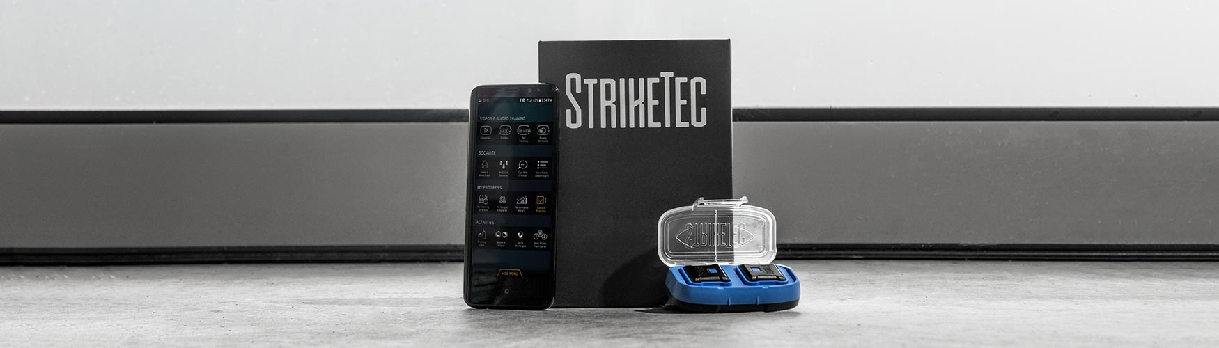 StrikeTec Sensors with an App installed on an Android Phone